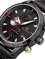 MINI FOCUS Men's Sport Fashion Watches Wristwatch Stopwatch Calendar Quartz Genuine Leather Band Chronography Clock Relogio Masculino Hombre
