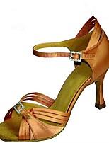 Women's Latin Silk Sandals Performance Buckle Stiletto Heel Dark Brown Brown Purple 3