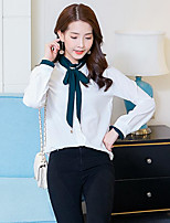 Women's Casual/Daily Simple Shirt,Solid Stand Long Sleeves Cotton