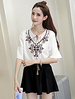 Women's Casual/Daily Simple Shirt,Print Round Neck Short Sleeves Cotton