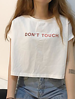 Women's Casual/Daily Sexy T-shirt,Solid Letter Round Neck Short Sleeves Cotton