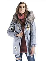 Maxlindy Women's Vintage Street chic Sophisticated Going out Casual/Daily Print Fur Collar Polypropylene Padded Coat