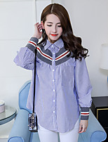 Women's Casual/Daily Simple Spring Fall Shirt,Striped Shirt Collar Long Sleeves Others Medium