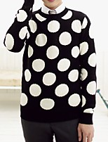 Men's Going out Casual/Daily Short Pullover,Polka Dot Round Neck Long Sleeves Polyester Spandex Others Spring Fall Medium Micro-elastic