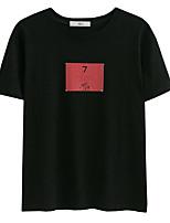 Damen Solide Buchstabe Einfach Lässig/Alltäglich T-shirt,Rundhalsausschnitt Kurzarm Baumwolle