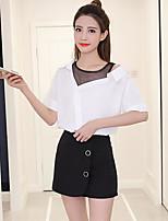 Для женщин На каждый день Рубашка Рубашечный воротник,Простое Однотонный С короткими рукавами,Другое