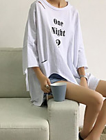 Women's Casual/Daily Street chic Spring T-shirt,Solid Round Neck Long Sleeves Cotton