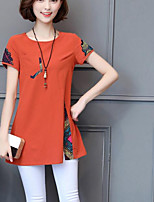 Women's Casual/Daily Simple Shirt,Print Round Neck Short Sleeves Linen Others