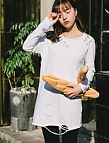 Women's Casual/Daily Simple T-shirt,Print Round Neck Long Sleeves Cotton Others