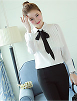 Women's Casual/Daily Simple Blouse,Solid Shirt Collar Long Sleeves Polyester