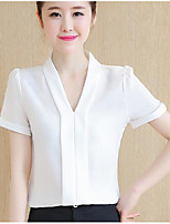 Women's Casual/Daily Simple Shirt,Solid V Neck Short Sleeves Others