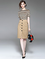 EWUS/Women's Going out Casual/Daily Street chic Summer Fall T-shirt Skirt SuitsStriped Round Neck Short Sleeve Inelastic