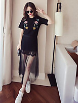 Women's Going out Simple Summer T-shirt Skirt Suits,Floral Round Neck Short Sleeve
