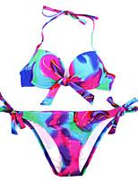 Da donna All'americana Bikini Monocolore Fantasia floreale Scollatura ampia Retrò Con lacci Con stampe
