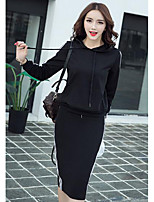 Women's Casual/Daily Simple Spring Hoodie Skirt Suits,Solid Hooded Long Sleeve