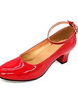 Damen Modern PVC Leder Kunstleder Sandalen Absätze Aufführung Kubanischer Absatz Rot