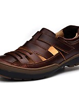 Men's Sandals Comfort Summer Fall Nappa Leather Water Shoes Casual Outdoor Dress Flat Heel Brown Black Flat