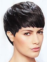 Simple Graceful Black Short Straight Hair Human Hair Wigs