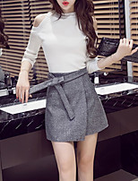 Women's Going out Casual/Daily Simple Fall Winter T-shirt Skirt Suits,Solid Crew Neck Long Sleeve Micro-elastic