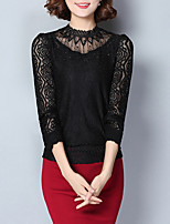 Women's Going out Casual/Daily Simple Fall Blouse,Solid Round Neck Long Sleeves Cotton