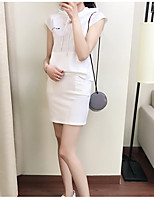 Women's Daily Soak Off Summer T-shirt Dress Suits,Solid Round Neck Short Sleeve