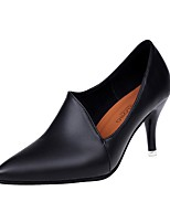 Women's Heels Comfort PU Fall Winter Casual Kitten Heel Black 1in-1 3/4in