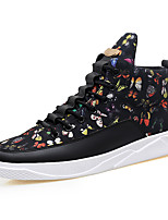 Men's Sneakers Comfort Spring Fall Canvas Casual Zipper Lace-up Flat Heel Black/White Black/Gold Black Flat