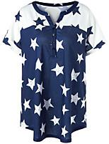 T-shirt Da donna Casual Semplice Estate,Tinta unita Fantasia geometrica Monocolore A V Cotone Manica corta