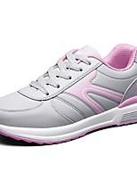 Women's Sneaker Comfort Spring Fall PU Casual Lace-up Flat Heel Blushing Pink Fuchsia Black Flat