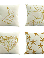 Set Of 4 Golden Geometry Pattern Pillow Cover Personality Sofa Pillow Case