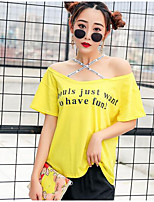 Women's Casual/Daily Simple T-shirt,Print Letter Boat Neck Short Sleeves Cotton Others