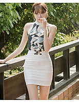Women's Going out Casual/Daily Simple Summer T-shirt Skirt Suits,Print Stand Sleeveless