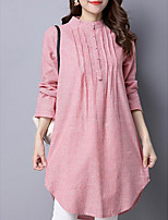 Women's Casual/Daily Simple Shirt,Striped Round Neck Long Sleeves Cotton Others
