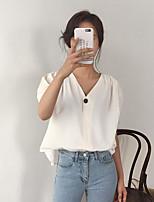 Camicia Da donna Casual Semplice Estate,Tinta unita A V Cotone Manica corta Medio spessore