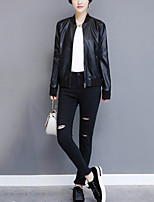 Women's Going out Casual/Daily Street chic Fall Winter Leather Jacket,Solid Stand Long Sleeve Short PU