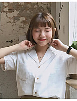 Women's Casual/Daily Simple Shirt,Solid Shirt Collar Short Sleeves Polyester