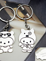 Material Keychain Favors-6 Pairs/Set  Cartoon Kids key Ring  Favors Personalized Silver