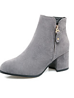 Women's Boots Comfort Fall Winter Leatherette Casual Office & Career Dress Zipper Chunky Heel Black Gray Yellow 2in-2 3/4in