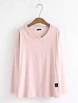 Damen Solide Sexy Einfach Street Schick Ausgehen Lässig/Alltäglich T-shirt,V-Ausschnitt Sommer Herbst Langarm Baumwolle Dünn Mittel