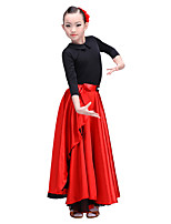 Latin Dance Bottoms Children's Performance Senior Emulation Silk Satin Chiffon 1 Piece Dropped Skirts