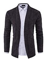 Standard Cardigan Da uomo-Casual Semplice Monocolore Colletto Manica lunga Cotone Primavera Autunno Medio spessore Elasticizzato