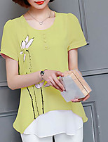 Women's Casual/Daily Simple Blouse,Print Round Neck Short Sleeves Nylon Others