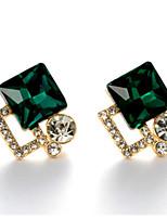 Drop Earrings Women's Fashion Square Style Dark Green Rhinestone Earrings For  Business Charm Daily Movie Jewelry