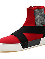 Men's Sneakers Comfort Spring Fall Fabric Casual Zipper Flat Heel Ruby Black Flat