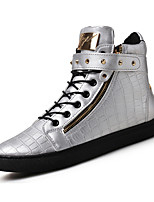 Men's High-top Sneakers Comfort Leather Summer Fall Casual Outdoor Rivet Flat Heel Brown Silver Black Flat