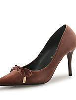 Women's Heels Comfort Flocking Fall Winter Office & Career Party & Evening Dress Bowknot Stiletto Heel Brown Black 3in-3 3/4in