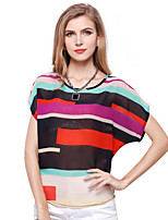 Women's Going out Simple T-shirt,Color Block Round Neck Short Sleeves Cotton