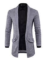 Men's Going out Casual/Daily Simple Street chic Long Cardigan,Solid Shirt Collar Long Sleeves Cotton Spring Fall Medium Stretchy