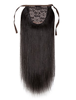 16inch -24inch Natural  black 100% human hair clip in hairpiece high ponytail 80g