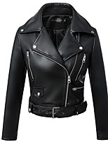 Women's Casual/Daily Simple Fall Leather Jacket,Solid Shirt Collar Long Sleeve Short PU